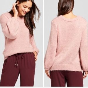 A New Day Fuzzy Pink Bishop Sleeve Knit Sweater